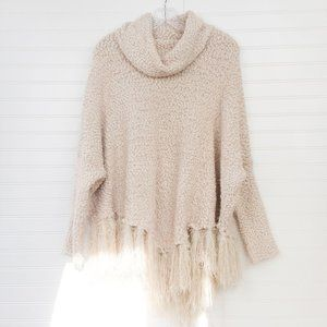 Mystree Cowl Neck Popcorn Fringe Poncho Sweater